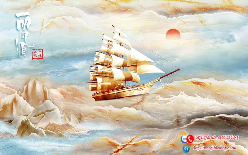 Tranh thuận buồm xuôi gió giả đá cẩm thạch  47