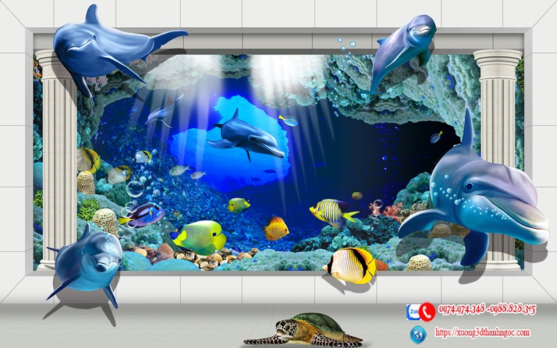 Tranh kính cá heo 3D