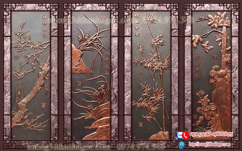 Tranh gạch 3D tứ quý 3D giả gỗ đẹp