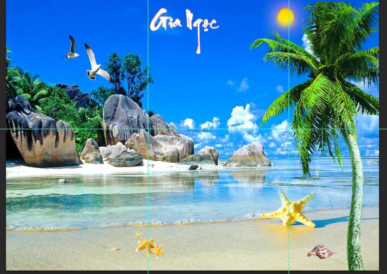 Tranh 3D bãi biển